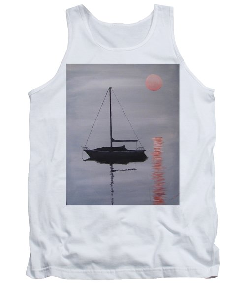 Tank Top featuring the painting Misty Morning Mooring by Jack Skinner