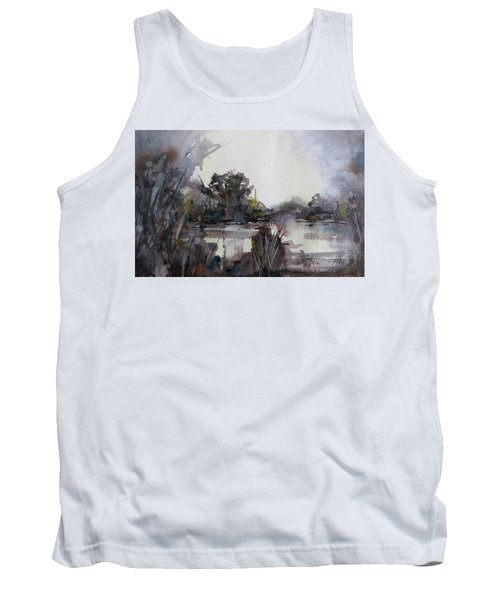 Tank Top featuring the painting Misty Pond by Geni Gorani
