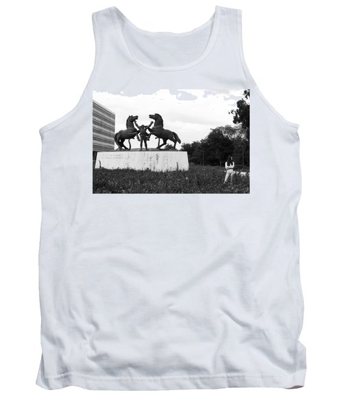 Tank Top featuring the photograph Model And The Monument by Lorraine Devon Wilke