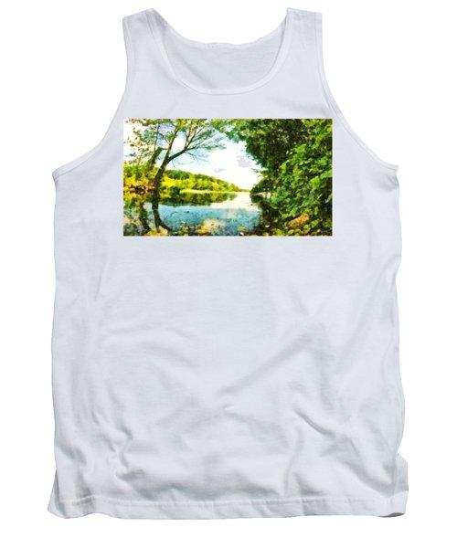 Tank Top featuring the photograph Mohegan Lake By The Bridge by Derek Gedney