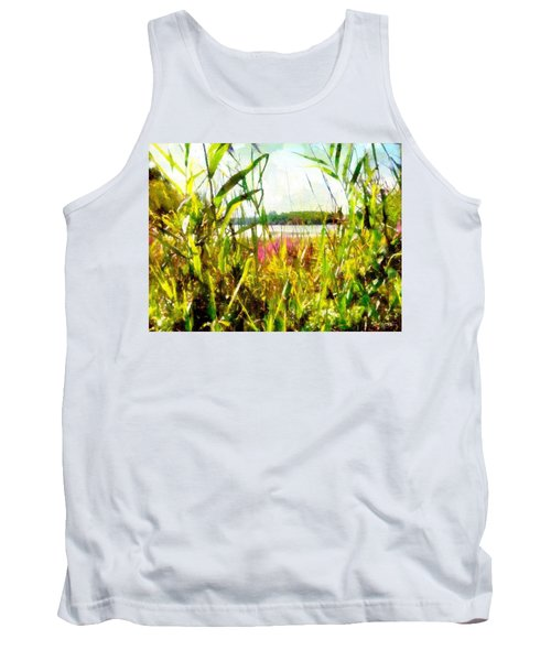 Tank Top featuring the painting Mohegan Lake In The Brush by Derek Gedney