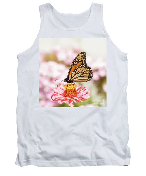 Monarch Butterfly On Pink Tank Top