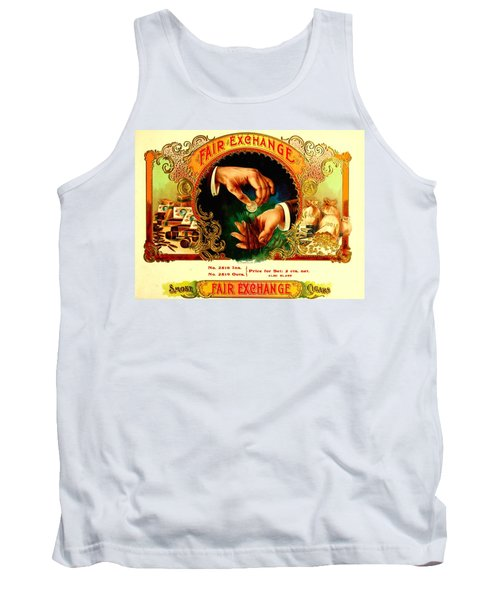 Money Cigar Label Tank Top by Marianne Dow