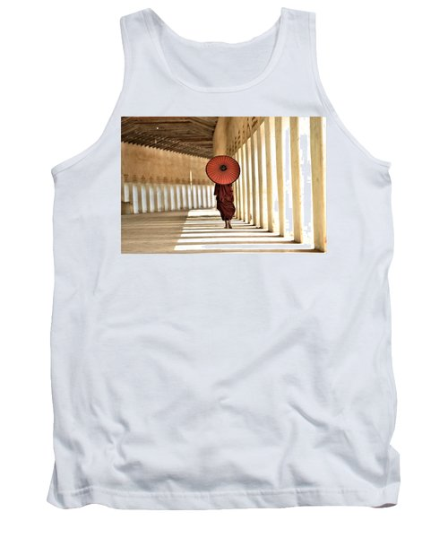 Monk With Umbrella Walking In Th Light Passway Tank Top