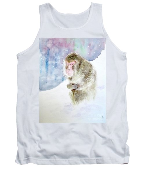 Monkey In Meditation Tank Top by Yoshiko Mishina