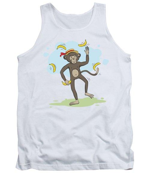 Monkey Juggling Bananas Tank Top by Elena Chepel