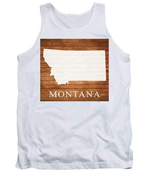 Montana Rustic Map On Wood Tank Top