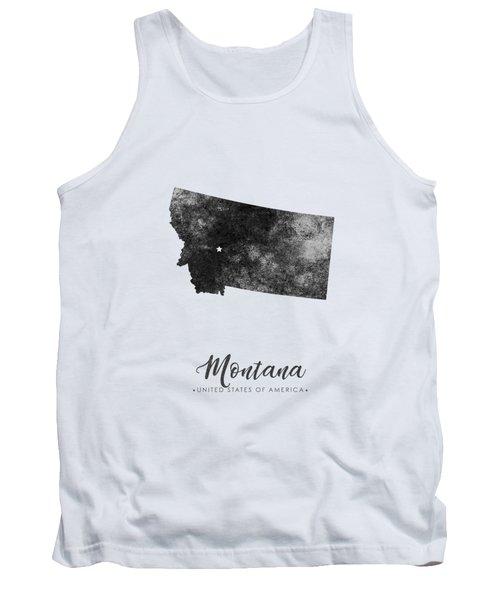 Montana State Map Art - Grunge Silhouette Tank Top