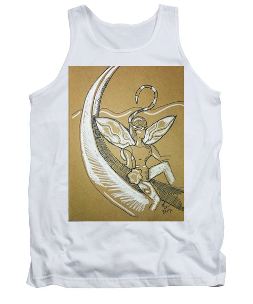 Tank Top featuring the drawing Moon Fairy by Loretta Nash