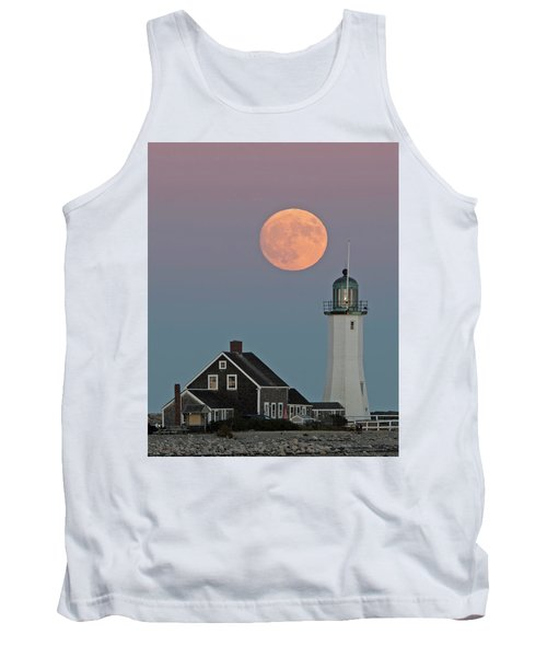 Tank Top featuring the photograph Moon Rise Over Scituate by Stephen Flint