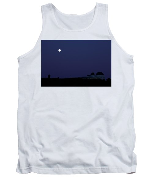 Moonrise At Blue Hour Over Griffith Observatory In Los Angeles Tank Top