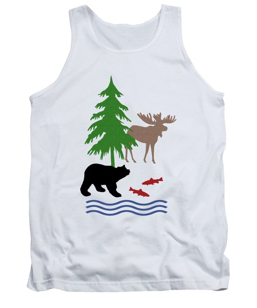 Moose And Bear Pattern Art Tank Top by Christina Rollo