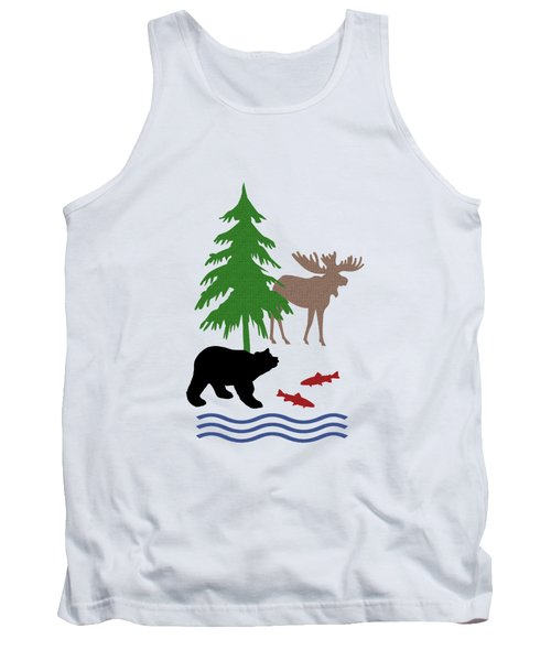 Moose And Bear Pattern Art Tank Top