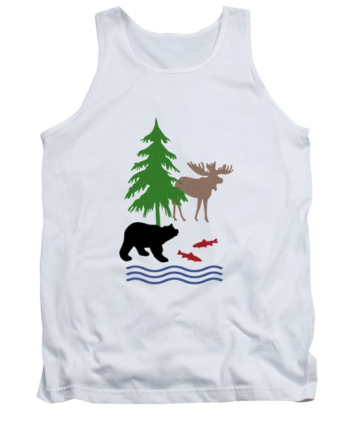 Moose And Bear Pattern Tank Top by Christina Rollo