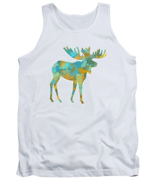 Moose Watercolor Art Tank Top by Christina Rollo