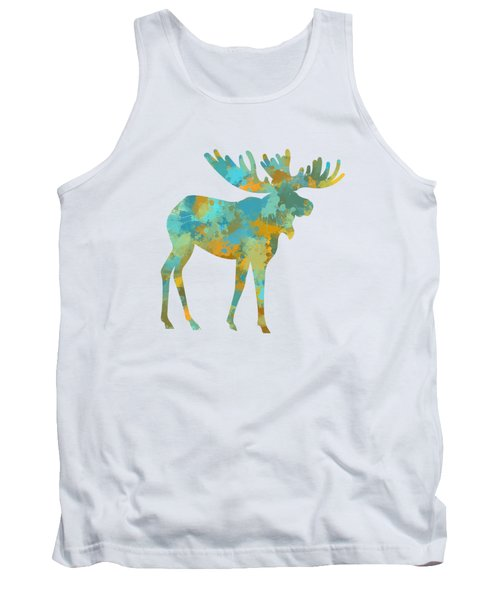 Moose Watercolor Art Tank Top