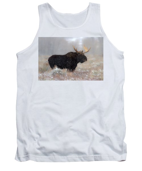 Tank Top featuring the photograph Moose Winter Silhouette by Adam Jewell