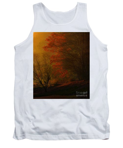 Morning Sunrise With Fog Touching The Tree Tops In Georgia. Tank Top