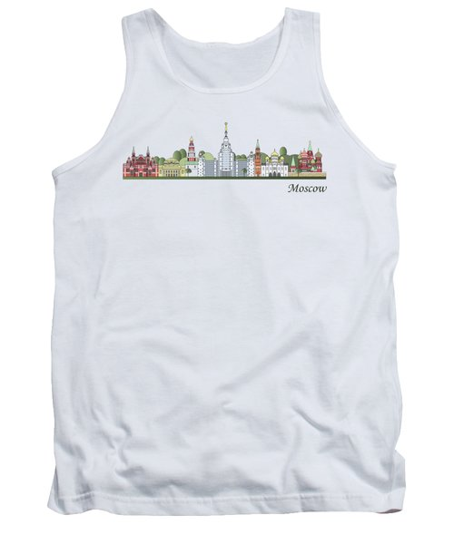 Moscow Skyline Colored Tank Top by Pablo Romero