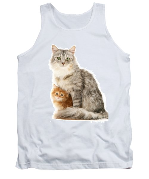 Mother Cat And Ginger Kitten Tank Top
