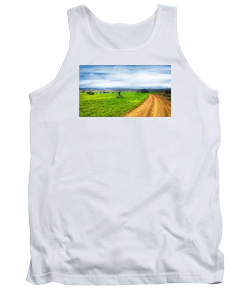 Mountain Biker Cycling Through Green Fields Tank Top
