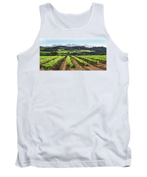Tank Top featuring the mixed media Mountains Of Montserrat Catalunya by Gina Dsgn