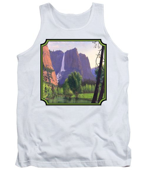 Mountains Waterfall Stream Western Landscape - Square Format Tank Top