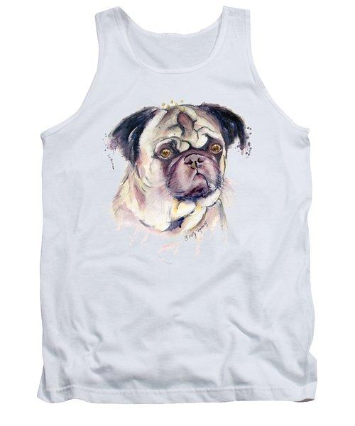 Mr Thinker Pug Watercolor Tank Top