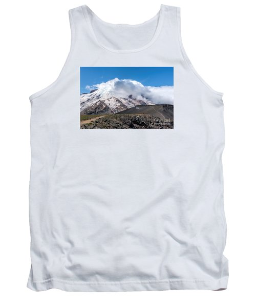 Mt Rainier In The Clouds Tank Top by Sharon Seaward