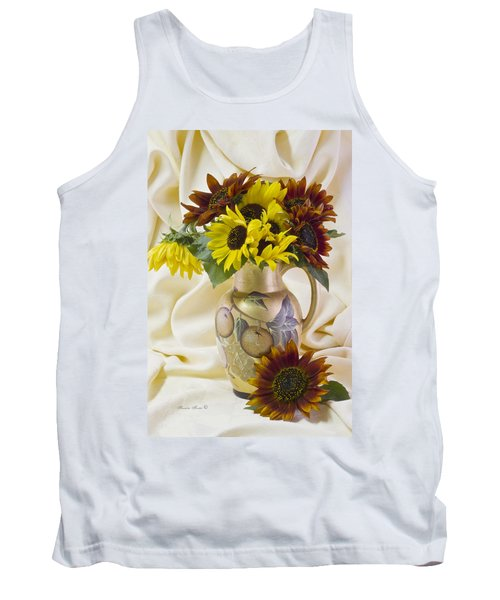 Multi Color Sunflowers Tank Top by Sandra Foster