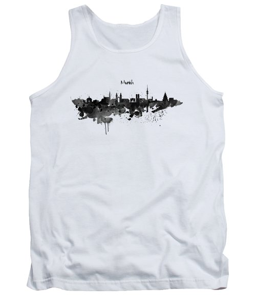 Munich Black And White Skyline Silhouette Tank Top by Marian Voicu