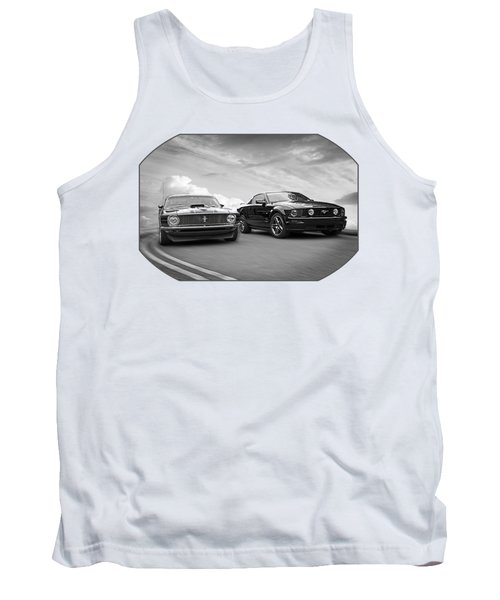 Mustang Buddies In Black And White Tank Top by Gill Billington