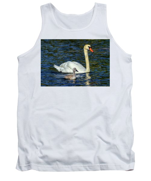 Mute Swan, Cygnus Olor, Mother And Baby Tank Top