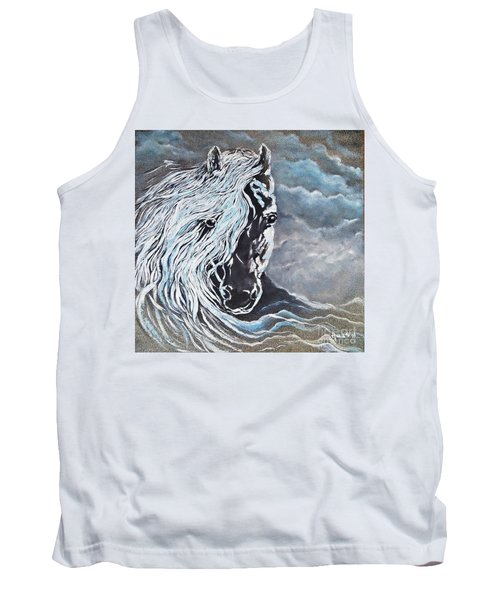 My White Dream Horse Tank Top by AmaS Art