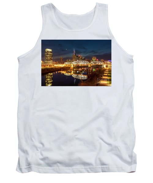Tank Top featuring the photograph Nashville Twilight Skyline II by Brian Jannsen