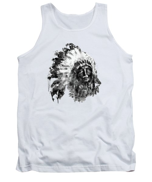 Tank Top featuring the mixed media Native American Chief Black And White by Marian Voicu