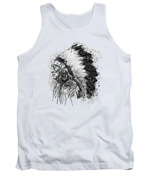 Tank Top featuring the mixed media Native American Chief Side Face Black And White by Marian Voicu