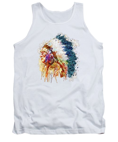Native American Chief Side Face Tank Top