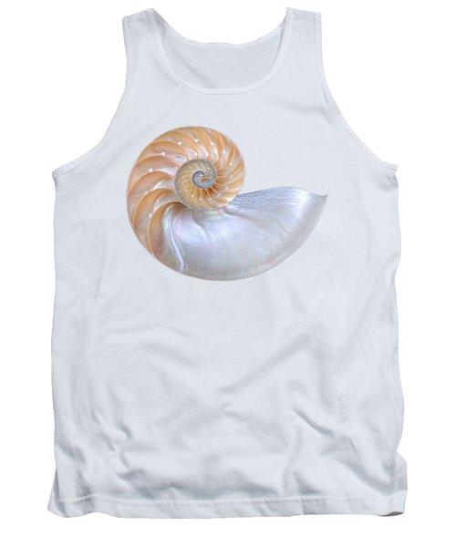Natural Nautilus Seashell On White Tank Top