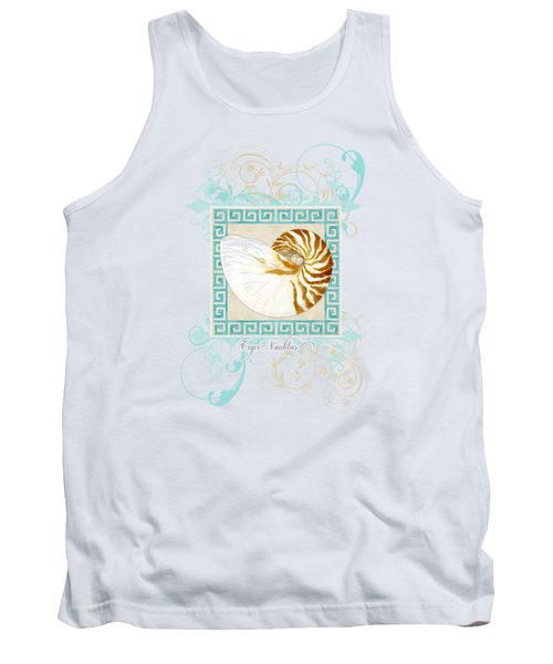 Tank Top featuring the painting Nautilus Shell Greek Key W Swirl Flourishes by Audrey Jeanne Roberts
