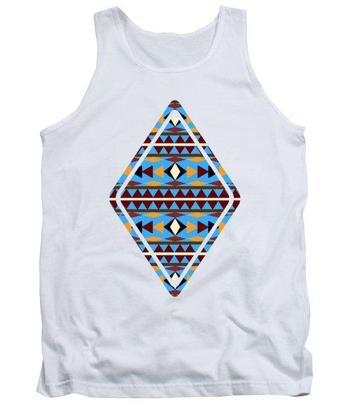 Navajo Blue Pattern Art Tank Top by Christina Rollo