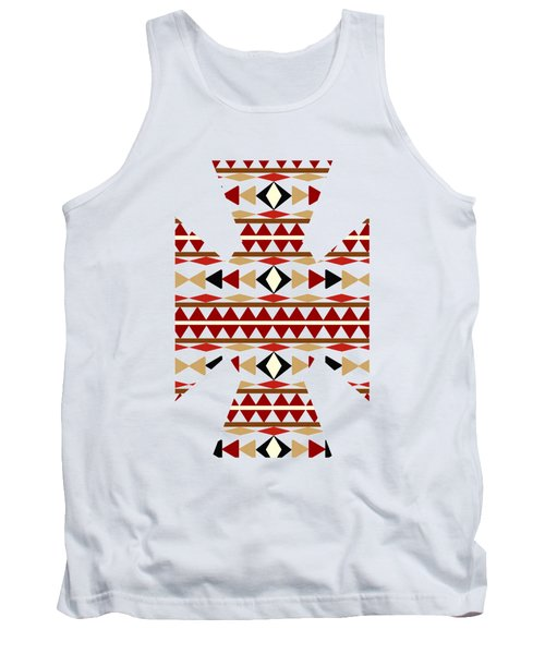 Navajo White Pattern Art Tank Top by Christina Rollo