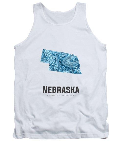 Nebraska Map Art Abstract In Blue Tank Top