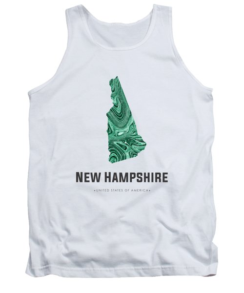 New Hampshire Map Art Abstract In Blue Green Tank Top
