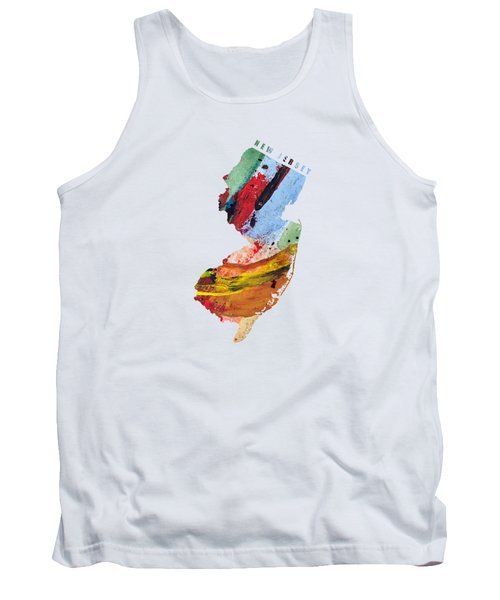 New Jersey Map Art - Painted Map Of New Jersey Tank Top
