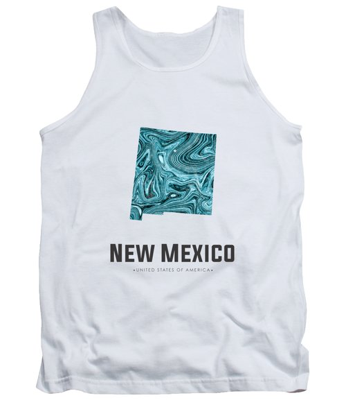 New Mexico Map Art Abstract In Blue Tank Top