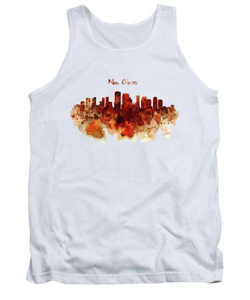 New Orleans Watercolor Skyline Tank Top by Marian Voicu