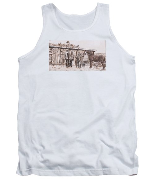Tank Top featuring the painting New Stallion At The Homestead Historical Vignette by Dawn Senior-Trask