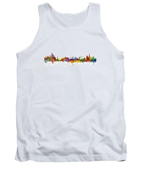 New York And London Skyline Mashup Tank Top by Michael Tompsett