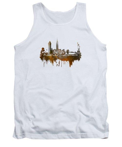 New York City Skyline Brown Tank Top by Justyna JBJart